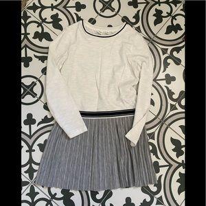 Gap White Cotton Tee shirt dress with pleats 8 EUC